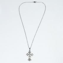 Κολιέ φο μπιζού ορείχαλκος σταυρός με λευκούς κρυστάλλους σε ασημί χρώμα BZ-NK-00406 Εικόνα 2