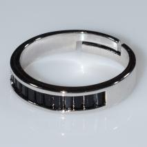 Δαχτυλίδι φο μπιζού βεράκι σειρέ με μαύρους κρυστάλλους σε ασημί χρώμα BZ-RG-00413 Εικόνα 2