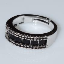 Δαχτυλίδι φο μπιζού βεράκι σειρέ με μαύρους κρυστάλλους σε ασημί χρώμα BZ-RG-00417 Εικόνα 2