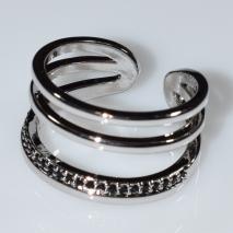 Δαχτυλίδι φο μπιζού με μαύρους κρυστάλλους σε ασημί χρώμα BZ-RG-00420 Εικόνα 2