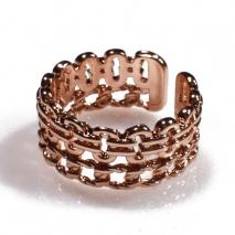 Δαχτυλίδι φο μπιζού ορείχαλκος αλυσίδες σε ροζ χρυσό χρώμα BZ-RG-00437 Εικόνα 2
