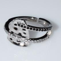 Δαχτυλίδι φο μπιζού ορείχαλκος με μαύρους και λευκούς κρυστάλλους σε ασημί χρώμα BZ-RG-00448 Εικόνα 2