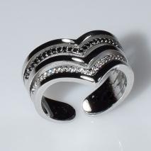 Δαχτυλίδι φο μπιζού ορείχαλκος σχέδιο V με μαύρους και λευκούς κρυστάλλους σε ασημί χρώμα BZ-RG-00449 Εικόνα 3