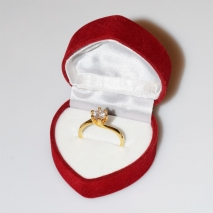 Handmade wedding ring with sterling silver gold plating and precious stones (zircon) IJ-010478-G in gift box