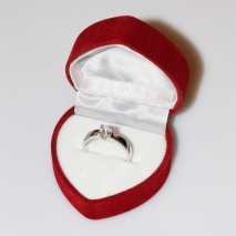 Handmade wedding ring with sterling silver platinum plating and precious stones (zircon) IJ-010480-S in gift box