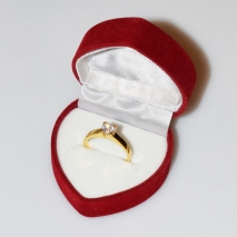 Handmade wedding ring with sterling silver gold plating and precious stones (zircon) IJ-010481-G in gift box