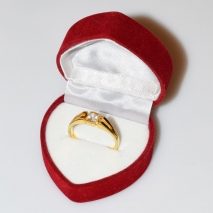 Handmade wedding ring with sterling silver gold plating and precious stones (zircon) IJ-010485-G in gift box