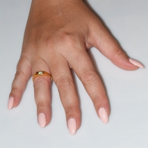 Handmade wedding ring with sterling silver gold plating and precious stones (zircon) IJ-010485-G worn in hand