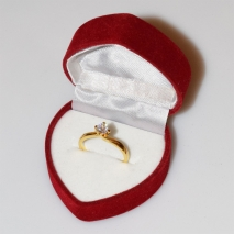 Handmade wedding ring with sterling silver gold plating and precious stones (zircon) IJ-010486-G in gift box
