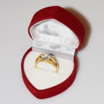 Handmade wedding ring with sterling silver gold plating and precious stones (zircon) IJ-010488-G in gift box