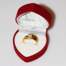 Handmade wedding ring with sterling silver gold plating and precious stones (zircon) IJ-010490-G in gift box
