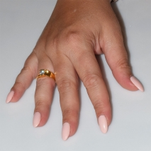 Handmade wedding ring with sterling silver gold plating and precious stones (zircon) IJ-010490-G worn in hand