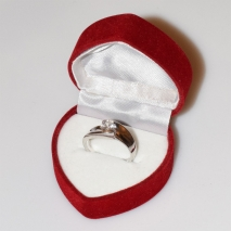 Handmade wedding ring with sterling silver platinum plating and precious stones (zircon) IJ-010490-S in gift box