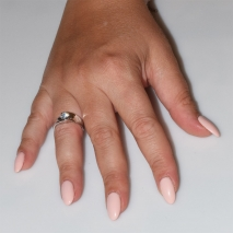 Handmade wedding ring with sterling silver platinum plating and precious stones (zircon) IJ-010490-S worn in hand