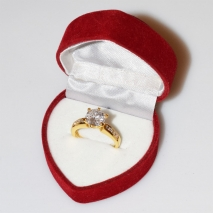 Handmade wedding ring with sterling silver gold plating and precious stones (zircon) IJ-010491-G in gift box