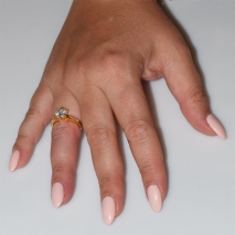 Handmade wedding ring with sterling silver gold plating and precious stones (zircon) IJ-010491-G worn in hand