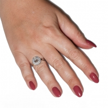 Ring faux bijoux brass wedding ring with white crystals in silver color BZ-RG-00451 Image in hand