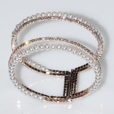 Bracelet faux bijoux bangle with pearls and crystals in rose gold color BZ-BR-00432