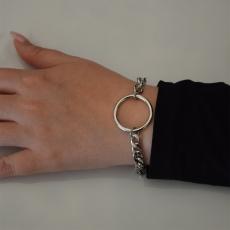 Βραχιόλι ατσάλινο (stainless steel) αλυσίδα με κρίκο σε ασημί χρώμα BZ-BR-00449 Εικόνα 2