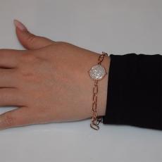Βραχιόλι ατσάλινο (stainless steel) αλυσίδα με λευκούς κρυστάλλους σε ροζ χρυσό χρώμα BZ-BR-00452 Εικόνα 2