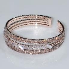 Βραχιόλι φο μπιζού ορείχαλκος bangle με λευκούς κρυστάλλους σε ροζ χρυσό χρώμα BZ-BR-00465 Εικόνα 2