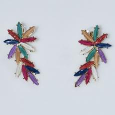 Σκουλαρίκια φο μπιζού ορείχαλκος καρφωτά λουλούδι με πολύχρωμους κρυστάλλους σε χρυσό χρώμα BZ-ER-00610 Εικόνα 2