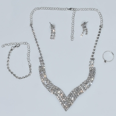 Necklace faux bijoux statement set with earrings, bracelet, ring in silver color with white crystals BZ-NK-00379 Image 4