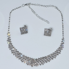 Necklace faux bijoux statement set with earrings in silver color with white crystals BZ-NK-00380 Image 3