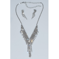Necklace faux bijoux statement set with earrings in silver color with white crystals BZ-NK-00381 Image 3