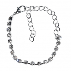 Necklace faux bijoux statement set with earrings, bracelet, ring in silver color with white crystals BZ-NK-00383 Image Bracelet