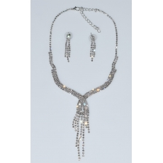 Necklace faux bijoux statement set with earrings in silver color with white crystals BZ-NK-00384 Image 3