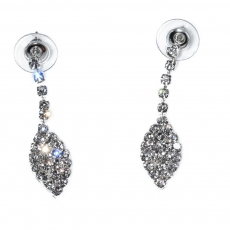 Necklace faux bijoux statement set with earrings in silver color with white crystals BZ-NK-00385 Image Earrings