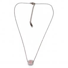 Κολιέ ατσάλινο (stainless steel) με ροζ κύβο σε ροζ χρυσό χρώμα BZ-NK-00392 εικόνα 2