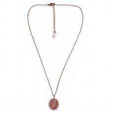 Κολιέ ατσάλινο (stainless steel) με ροζ οβάλ πέτρα σε ροζ χρυσό χρώμα BZ-NK-00396 εικόνα 2