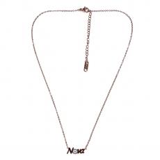 Κολιέ ατσάλινο (stainless steel) νονά ματάκι με σμάλτο σε ροζ χρυσό χρώμα BZ-NK-00400 εικόνα 2