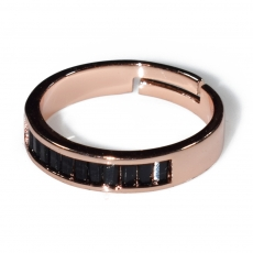 Ring faux bijoux wedding ring with black crystals in rose gold color BZ-RG-00414 Image 2