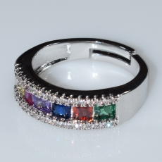 Ring faux bijoux wedding ring with multi color crystals in silver color BZ-RG-00418 Image 2