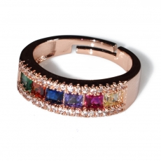 Ring faux bijoux wedding ring with multi color crystals in rose gold color BZ-RG-00419 Image 2