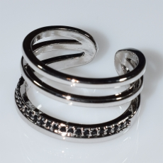 Ring faux bijoux with black crystals in silver color BZ-RG-00420 Image 2