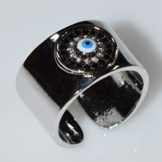 Ring faux bijoux evil eye with white crystals in silver color BZ-RG-00426 Image 2
