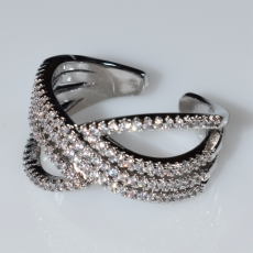Ring faux bijoux with white crystals in silver color BZ-RG-00429 Image 2