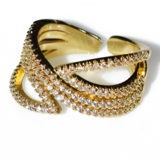 Ring faux bijoux with white crystals in gold color BZ-RG-00430 Image 2