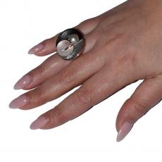 Δαχτυλίδι φο μπιζού ορείχαλκος στρογγυλό με πέρλα και σμάλτο σε ροζ χρυσό χρώμα BZ-RG-00431 Εικόνα 2