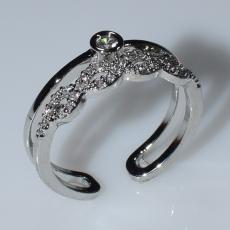 Δαχτυλίδι φο μπιζού ορείχαλκος βεράκι άπειρο με λευκούς κρυστάλλους σε ασημί χρώμα BZ-RG-00440 Εικόνα 2