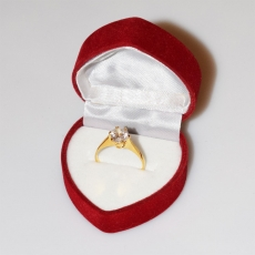 Handmade wedding ring with sterling silver gold plating and precious stones (zircon) IJ-010477-G in gift box