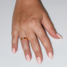 Handmade wedding ring with sterling silver gold plating and precious stones (zircon) IJ-010480-G worn in hand
