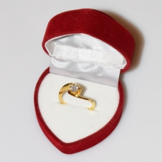 Handmade wedding ring with sterling silver gold plating and precious stones (zircon) IJ-010483-G in gift box