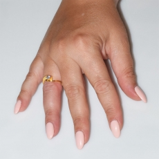 Handmade wedding ring with sterling silver gold plating and precious stones (zircon) IJ-010483-G worn in hand