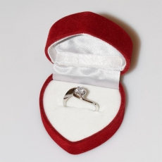 Handmade wedding ring with sterling silver platinum plating and precious stones (zircon) IJ-010483-S in gift box