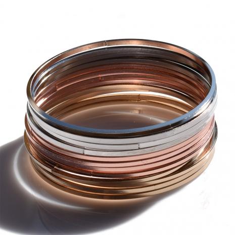 Βραχιόλι φο μπιζού αποτελούμενο από 12 ξεχωριστά σε ασημί, χρυσό και ροζ χρυσό χρώμα BZ-BR-00379 Εικόνα 2
